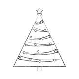 Christmas tree decorative icon Stock Images