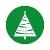 Christmas tree decorative icon Stock Image