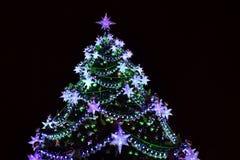 Christmas tree decorative night lights Royalty Free Stock Photography