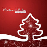 Christmas tree on decorative red background Stock Photos
