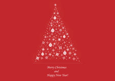 Christmas tree on deep red background Stock Photo