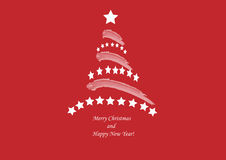 Christmas tree on deep red background Royalty Free Stock Photography