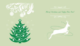 Christmas tree and deer. Background for greeting card Stock Photos