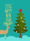 Christmas tree and deer. Holiday card for Christmas and new year Royalty Free Stock Images
