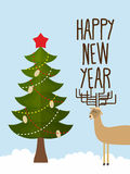 Christmas tree and deer. Holiday card for Christmas and new year Stock Photo