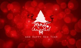 Christmas tree and a deer on red background Royalty Free Stock Photography