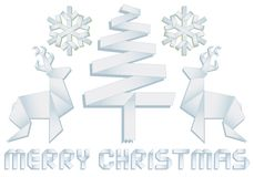 Christmas with tree, deer and snowflakes, vector Royalty Free Stock Images