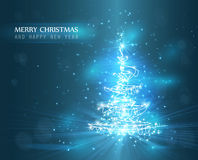 Christmas tree with defocused lights. Blue background stock illustration