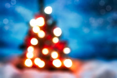 Christmas Tree  Defocused Lights Blue Multicolored Stock Image