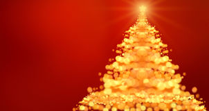 Christmas tree with defocused lights. Red background Royalty Free Stock Images