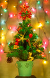 Christmas Tree & Defocused Lights Stock Photo