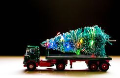 Christmas Tree Delivery. A beautiful Christmas tree ready for delivery on the back of a long truck royalty free stock photos
