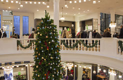 Christmas Tree in Department Store Royalty Free Stock Photo