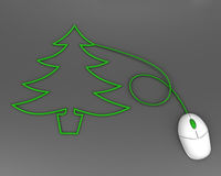 Christmas tree depicted with computer mouse cable Stock Photography