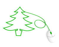 Christmas tree depicted with computer mouse cable Royalty Free Stock Images