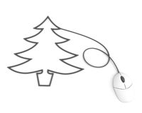 Christmas tree depicted with computer mouse cable Royalty Free Stock Photo