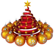 Christmas tree design. Stylized Christmas tree inside orange shining baubles. New Year greeting card composition. This is a detailed 3D rendering (Hi-Res) Royalty Free Stock Image