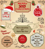 Christmas tree and design elements. Christmas tree, frames, borders and design elements royalty free illustration