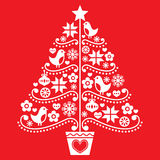 Christmas tree design - folk style with birds, flowers and snowflakes Royalty Free Stock Photography