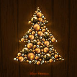 Christmas tree design. Green Christmas tree decorated of golden balls on the wooden background, this illustration may be useful as designer work Royalty Free Stock Photography