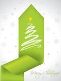 Christmas tree design on green ribbon Royalty Free Stock Photos