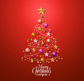 Christmas tree design for greetings card with colorful christmas decorations Royalty Free Stock Photo