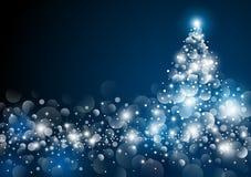 Christmas tree design at night. Vector illustration Royalty Free Stock Photo