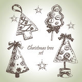 Christmas tree design set. Hand drawn Christmas tree design set royalty free illustration