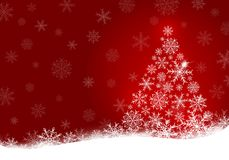 Christmas tree design of snowflake on red background. With copy space vector illustration Stock Photos