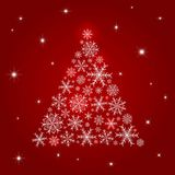 Christmas tree design of snowflake on red background. Vector illustration Stock Photos