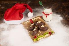 Christmas tree dessert with milk stock photography