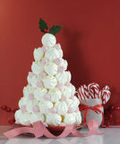 Christmas tree dessert treat made with pink and white meringues Royalty Free Stock Photography