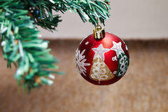 Christmas tree detail. Closeup photo of Christmas Tree globe Stock Image