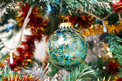 Christmas tree detail. Closeup photo of Christmas Tree globe Royalty Free Stock Photo