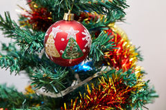 Christmas tree detail. Closeup photo of Christmas Tree Ornaments Stock Photo