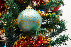 Christmas tree detail. Closeup photo of Christmas Tree Ornaments Stock Photography