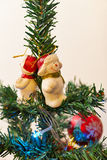 Christmas tree detail. Closeup photo of Christmas Tree ornaments Royalty Free Stock Photos