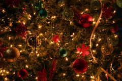 Christmas tree. Detail of a Christmas tree, decorations and lights Stock Photography