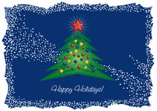 Christmas tree and diamond star greeting card Royalty Free Stock Photography