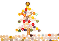 Christmas Tree From Different Colored Buttons And Decorated With Stock Photography