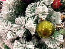 Christmas tree with different toys. Christmas tree. The painting depicts a fragment of a New Year tree with different toys royalty free stock image