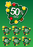 Christmas tree discount vector sticker Stock Photos