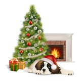 Christmas tree dog fireplace. A cute fluffy dog in Santa Claus hat lies near the Christmas tree and gift boxes, before the fireplace. Vector illustration about Stock Photography