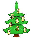 Christmas tree with dollar signs Royalty Free Stock Photos