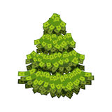 Christmas tree from dollar. Tree out of money. Plants grow in cash. Currency green plant. Tree for wealth Vector Illustration