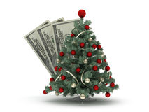 Christmas tree and dollars Stock Images