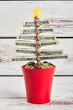 Christmas tree from dollars. Stock Photo