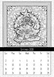 Christmas tree doodle pattern, calendar september 2018. Traditional Christmas and New Year symbol in coloring book poster layout. Handdrawn festive Stock Image