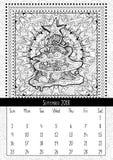 Christmas tree doodle pattern, calendar september 2018 Stock Image