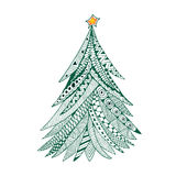 Christmas tree doodle stylized, hand drawn, green on white Stock Photos